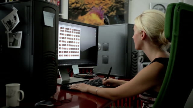 Young Woman Using Computer video