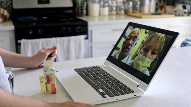 Young Woman Video Call with Doctors