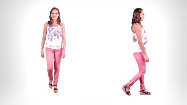 young woman walking. alpha matte. 2 in 1. - helkroppsbild bildbanksvideor och videomaterial från bakom kulisserna
