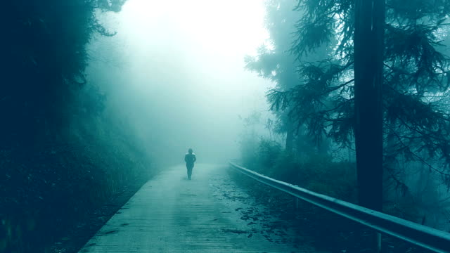 Young woman walking on foggy road lonely Young woman walking on foggy road lonely ghost stock videos & royalty-free footage