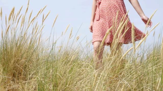 beachgrass や marram の草を歩く若い女性。sm - 湿地草点の映像素材/bロール