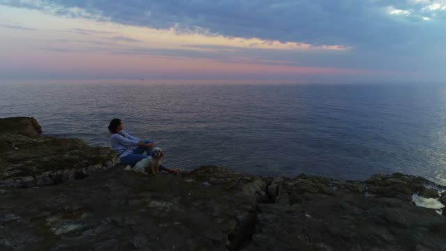 junge frau mit ihrem hund am strand sonnenuntergang - introspektion stock-videos und b-roll-filmmaterial