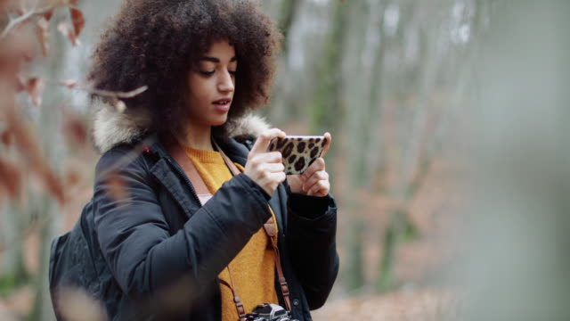 Young woman with afro hairstyle exploring the woods video
