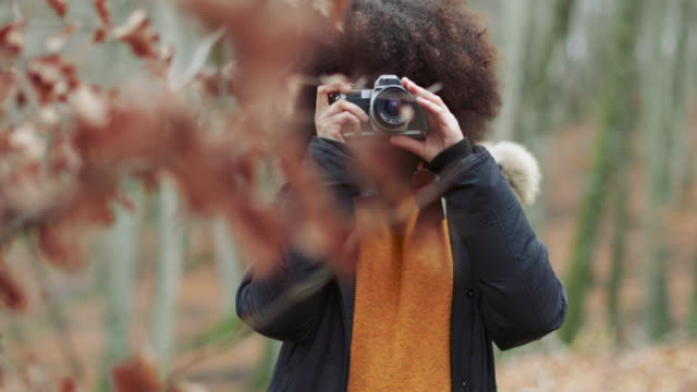 vídeos de stock e filmes b-roll de young woman with afro hairstyle taking photos in the woods - viagens anos 70