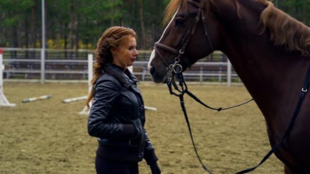 en ung kvinna med brunt lockigt hår och svart jacka strök en brun häst. - blazer bildbanksvideor och videomaterial från bakom kulisserna