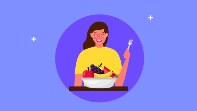 young woman with fresh healthy food in bowl video