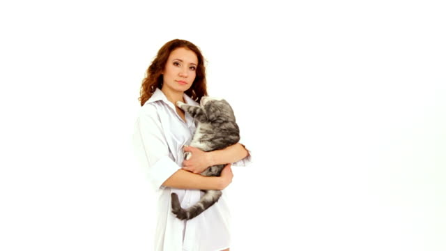 Young Woman With Grey Cat video