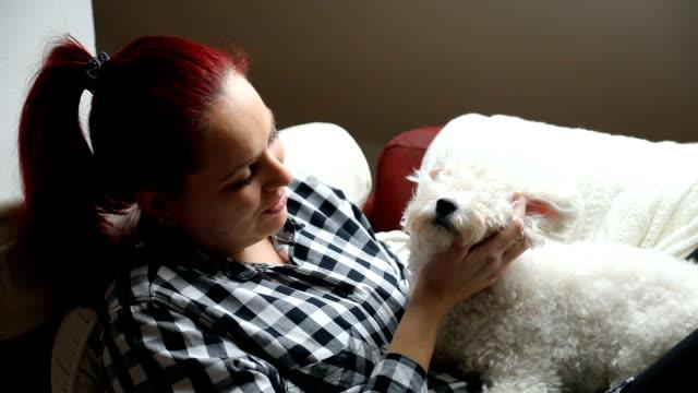 ベッドで彼女の犬を持つ若い女性。 - ビションフリーゼ点の映像素材/bロール