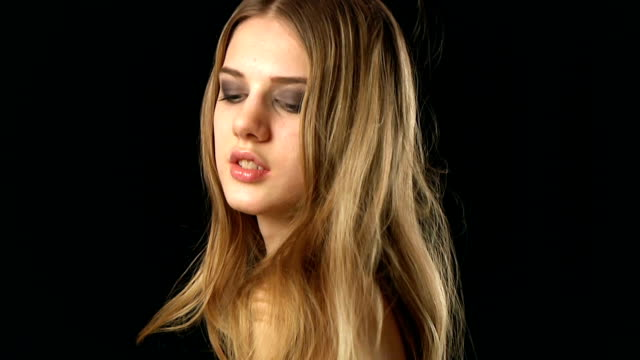 young woman with long hair video
