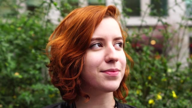 Young Woman With Red Hair Portrait Real People dyed red hair stock videos & royalty-free footage