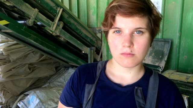 Young Woman Worker in Raw Material Processing Facility video