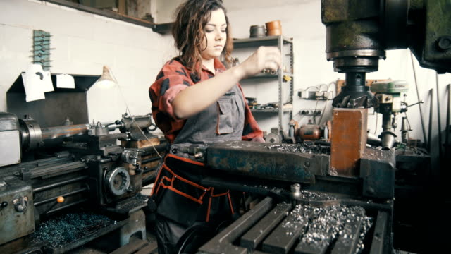 Young woman working in production video