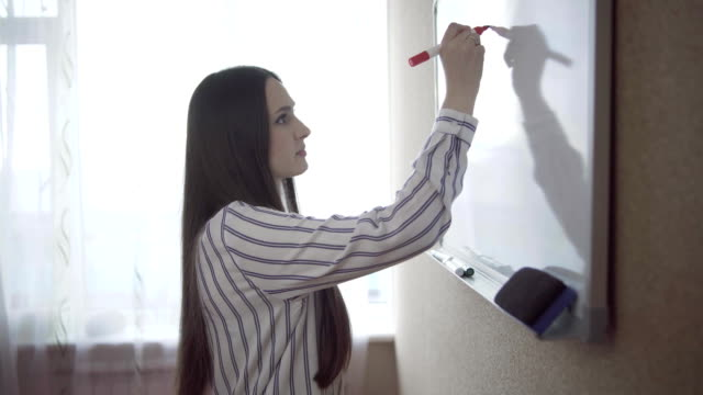 Young woman writing on a whiteboard in an office video