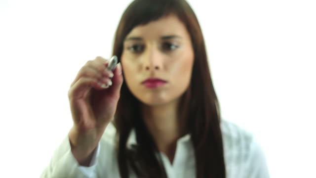 Young woman writing video