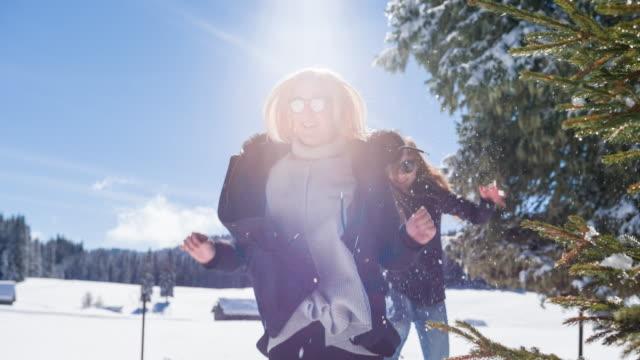 unga kvinnor jagar varandra i vinterlandskap - vintersport bildbanksvideor och videomaterial från bakom kulisserna