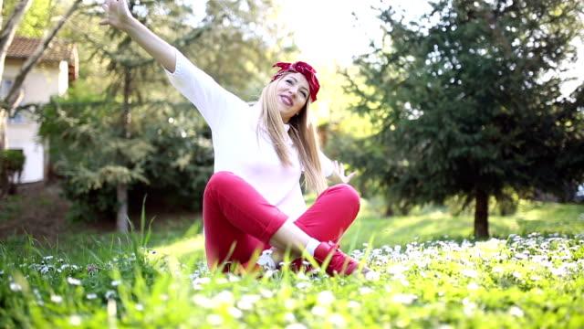 young women enjoy in nature - full hd format video stock e b–roll