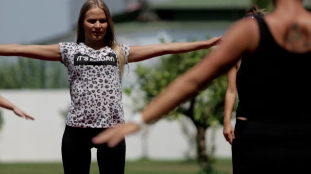 Young women exercising video
