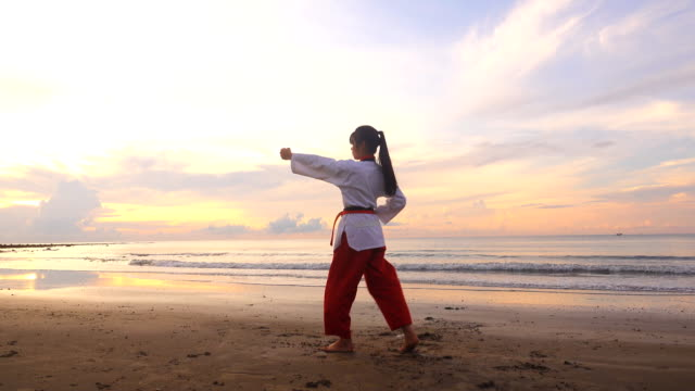 vídeos y material grabado en eventos de stock de mujeres jóvenes las artes marciales practising al aire libre en la playa - artes marciales