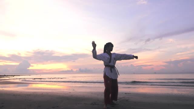 vídeos de stock, filmes e b-roll de mulheres novas que praticam artes marciais ao ar livre na praia. - artes marciais
