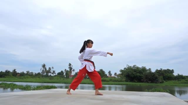 vídeos de stock, filmes e b-roll de mulheres jovens praticando artes marciais ao ar livre, câmera lenta - artes marciais