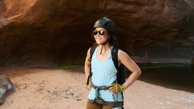 Young Women Rock Climber in Moab Utah USA