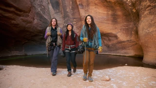 Young Women Rock Climbers in Moab Utah USA