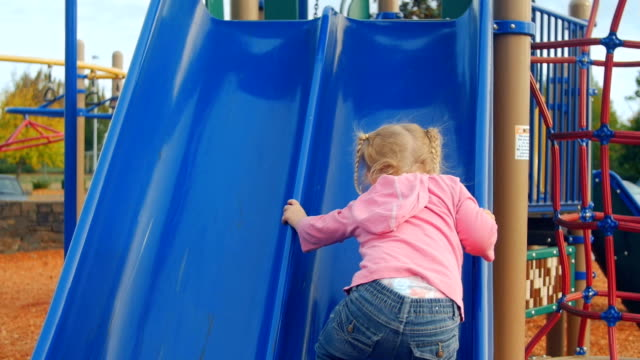 Youngest daughter tries her best to climb up slide video