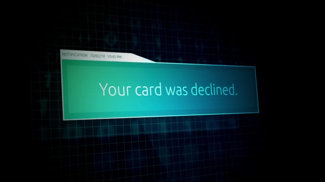 your card was declined- online banking notification - credit and credit cards stock videos & royalty-free footage