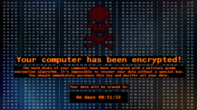 your computer has been encrypted, petya virus message on screen, cyber attack - spyware filmów i materiałów b-roll