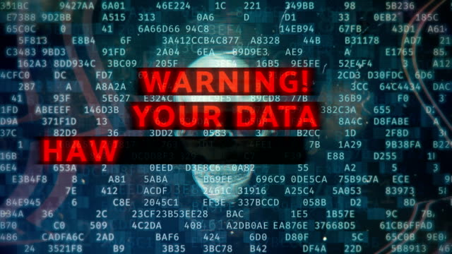 your data has been encrypted, red warning text over pirate skull, hacking - spyware video stock e b–roll
