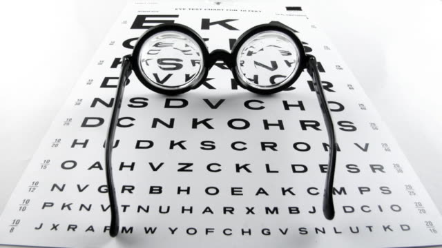 Your Friends the Lens .. Stop motion animation of a pair of lens on an eye chart.http://www.lisegagne.com/louis/objects.jpg eye chart stock videos & royalty-free footage