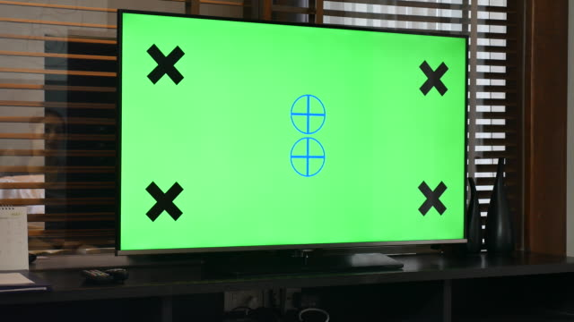 tv your message with chroma key - dolly shot video stock e b–roll