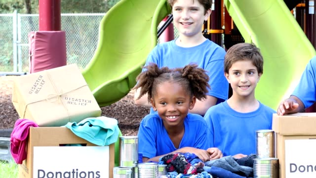 Youth sports team collects items for Disaster Relief video