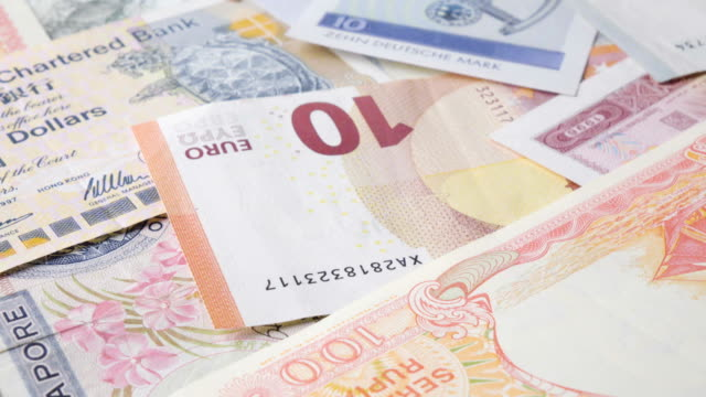 Yuan Banknote Turning 2 Clips In 1 Stock Footage Slow & Fast. video