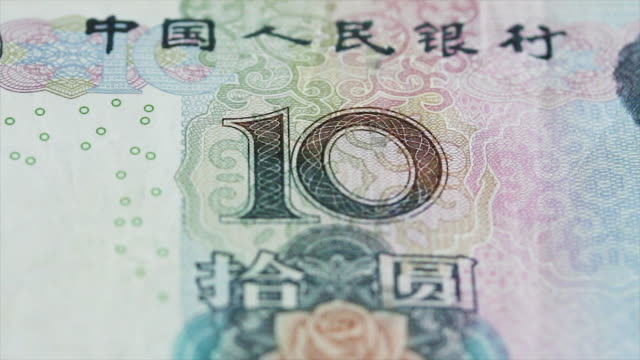 Yuan Currency in dolly shot and close up video
