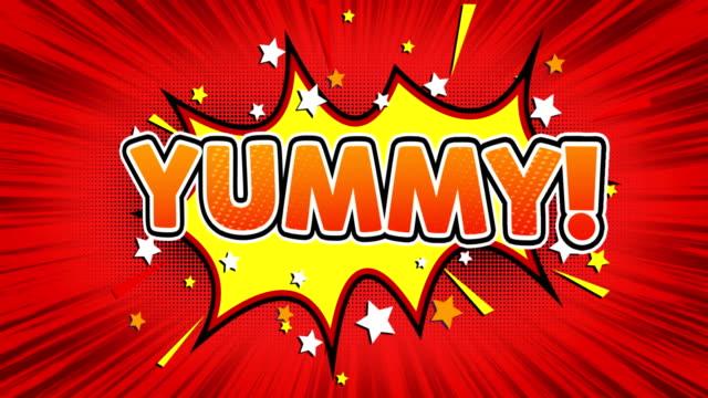 lecker! text pop art stil comic ausdruck. - comic font stock-videos und b-roll-filmmaterial