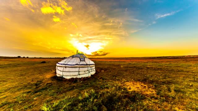 Yurt in the steppe, Mongolia. 4k timelapse video