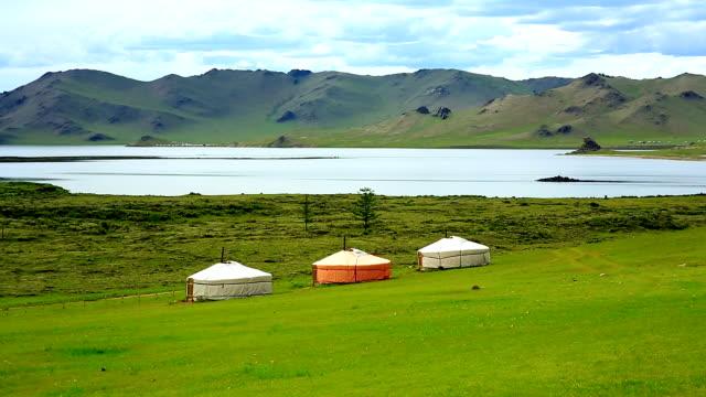 Yurt settlements, Terkhiin Tsagaan Lake, central Mongolia video