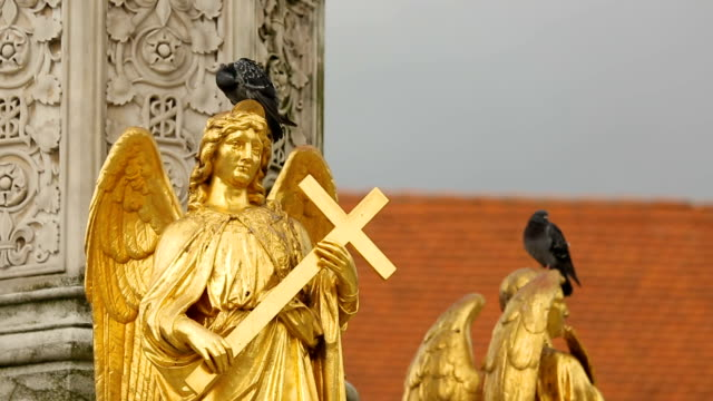Zagreb Cathedral fountain details, golden sculptures of saints, sightseeing video
