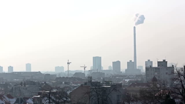 Zagreb panorama with heating plant video