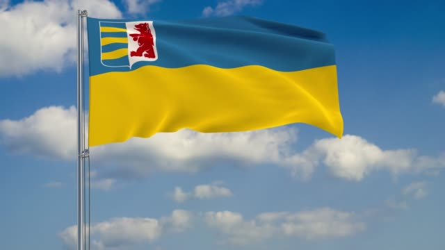 zakarpattia oblast flag against background of clouds floating on the blue sky - transcarpazia video stock e b–roll