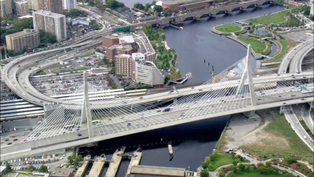 Zakim Bunker Hill Bridge  - Aerial View - Massachusetts,  Suffolk County,  United States video