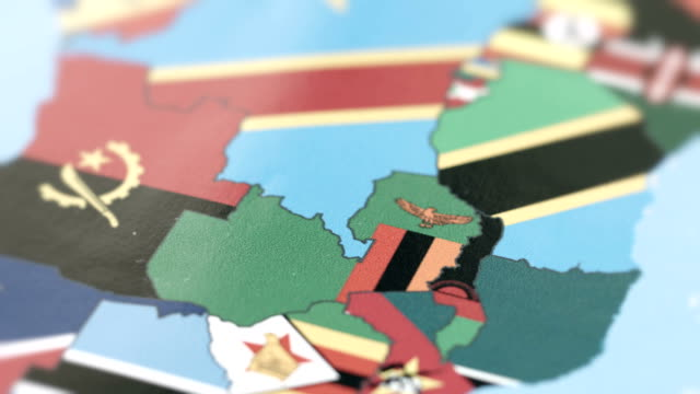 Zambia Borders with National Flag on World Map video