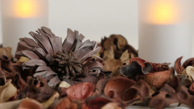 Zen background of candles and fragrant dried petals  - Relaxing scene with flowers and spices of potpourri mixture