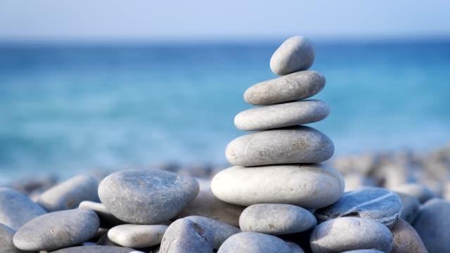 zen balanced stones stack - balance video stock e b–roll