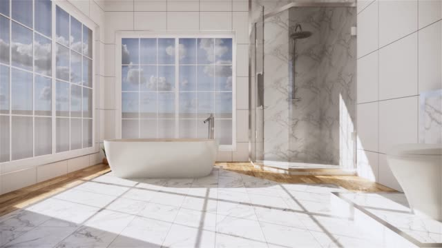zen design bath room tiles wall and floor - japanese style. 3d rendering - bagno domestico video stock e b–roll