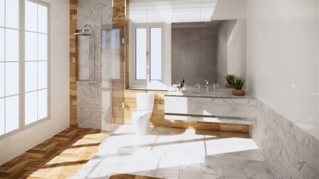 Zen design Bath room tiles wall and floor - japanese style. 3D rendering Zen design Bath room tiles wall and floor - japanese style. 3D rendering bathroom stock videos & royalty-free footage