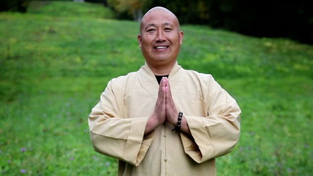 vídeos de stock, filmes e b-roll de zen mestre faz reverência e sorrindo retrato - agradecimento