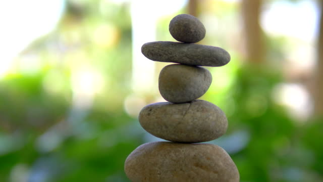 Zen stones in 4k slow motion 60fps video