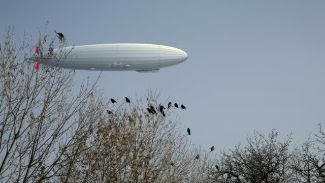 Zeppelin airship in background, flock of black ravens on trees in foreground